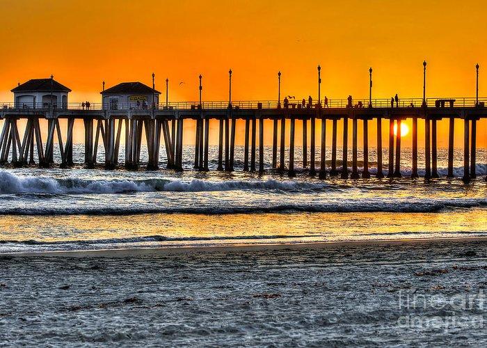 Sun Greeting Card featuring the photograph Huntington Beach Sunset by Jim Carrell