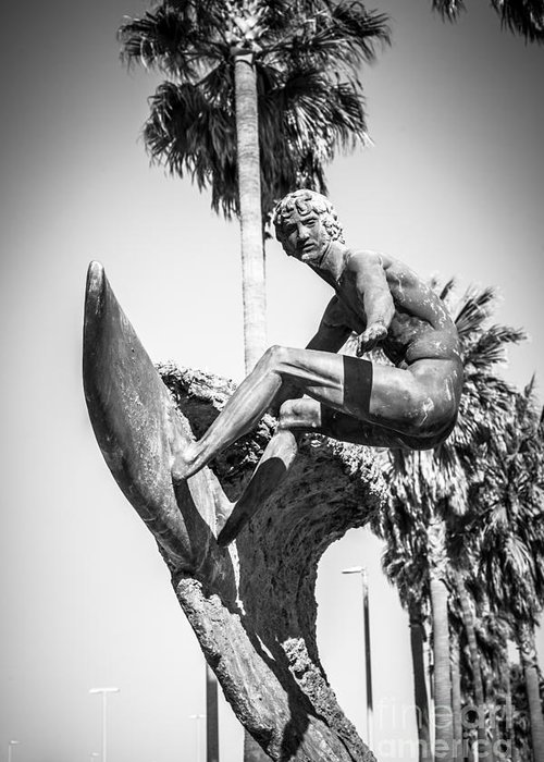 America Greeting Card featuring the photograph Huntington Beach Surfer Statue Black And White Picture by Paul Velgos