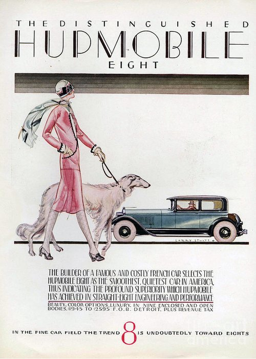 1920�s Greeting Card featuring the drawing Hupmobile 1926 1920s Usa Cc Cars Dogs by The Advertising Archives