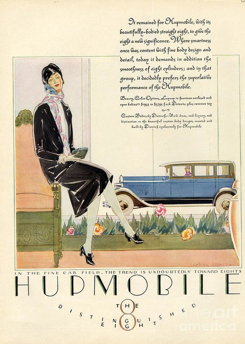 1920�s Greeting Card featuring the drawing Hupmobile 1929 1920s Usa Cc Cars Womens by The Advertising Archives