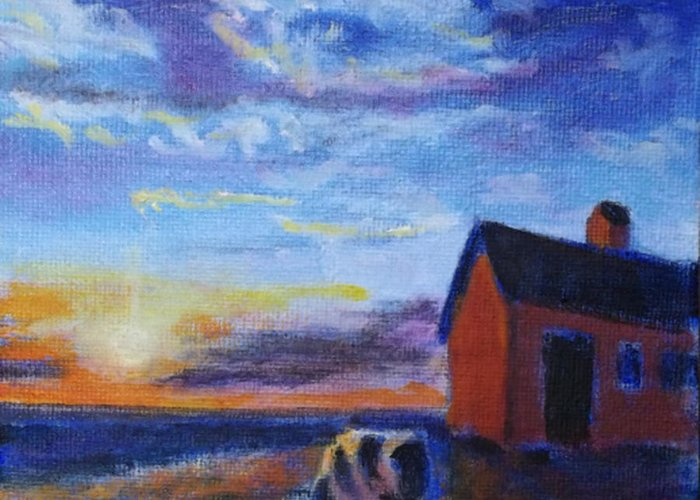 Cow Painting Greeting Card featuring the painting Hurry Sundown by David Zimmerman