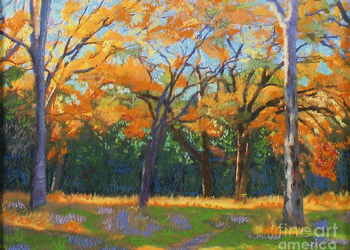 Landscape Greeting Card featuring the painting Hurst Hollow's Halloween by Patricia Collins-Perkey