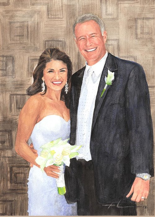 <a Href=http://miketheuer.com Target =_blank>www.miketheuer.com</a> Husband And Wife Watercolor Portrait Greeting Card featuring the drawing Husband And Wife Watercolor Portrait by Mike Theuer