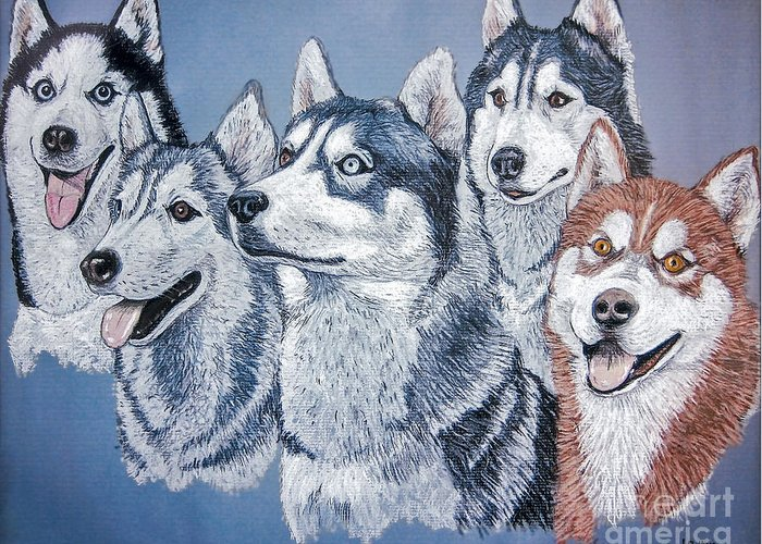 Huskies Greeting Card featuring the painting Huskies By J. Belter Garfunkel by Sheldon Kralstein
