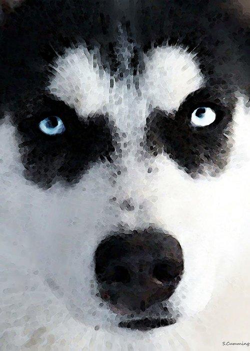 Husky Greeting Card featuring the painting Husky Dog Art - Bat Man by Sharon Cummings