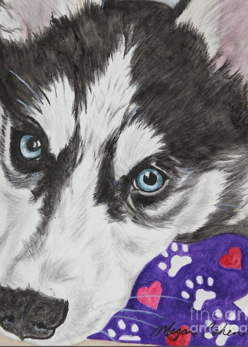 Husky Greeting Card featuring the painting Husky by Megan Cohen