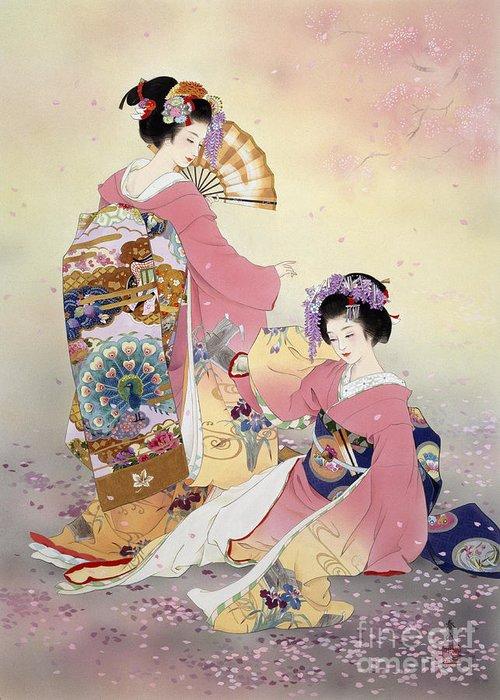 Haruyo Morita Greeting Card featuring the digital art Hutari Mai by Haruyo Morita