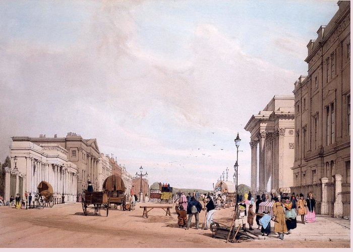 Hyde Park Corner Greeting Card featuring the drawing Hyde Park Corner, Looking by Thomas Shotter Boys