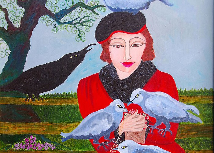 Birds Greeting Card featuring the painting Hyde Park by Donna Parker