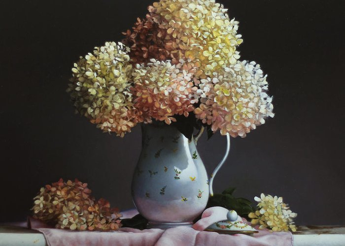 Flowers Greeting Card featuring the painting Hydrangea by Lawrence Preston
