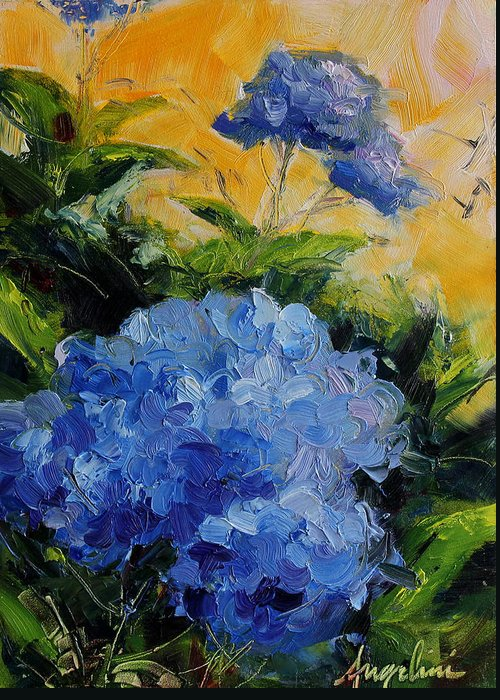 Hydrangea Greeting Card featuring the painting Hydrangea by Nancy Angelini Crawford