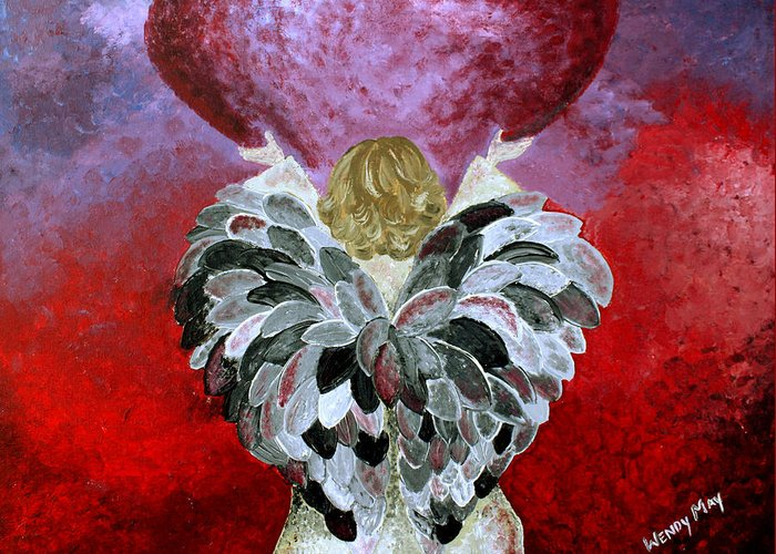Angel Greeting Card featuring the painting I Am Here by Wendy May
