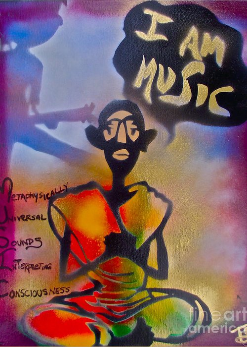 Graffiti Greeting Card featuring the painting I Am Music #1 by Tony B Conscious