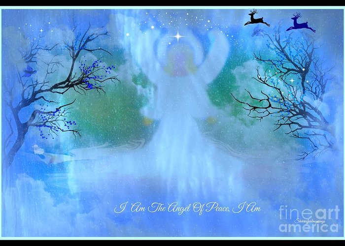 Angel Greeting Card featuring the digital art I Am The Angel Of Peace I Am by Sherri's Of Palm Springs