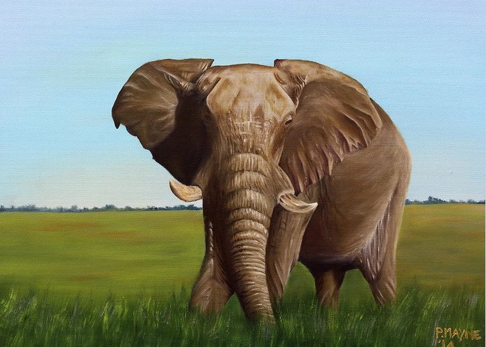 African Wildlife Greeting Card featuring the painting I Am Watching You by Patrick Mayne