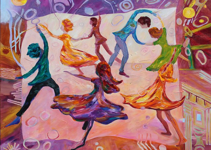 Dancing Greeting Card featuring the painting I Could Have Danced All Night by Naomi Gerrard