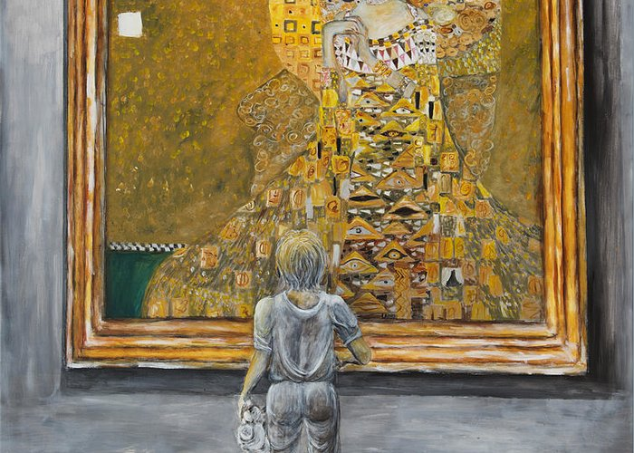 Painting Of Klimt Greeting Card featuring the painting I Dream Of Klimt by Nik Helbig