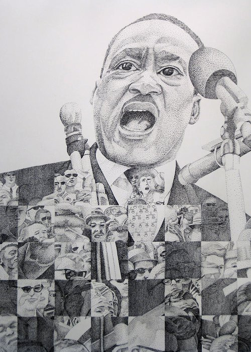 Martin Luther King Greeting Card featuring the drawing I Have A Dream Martin Luther King by Joshua Morton