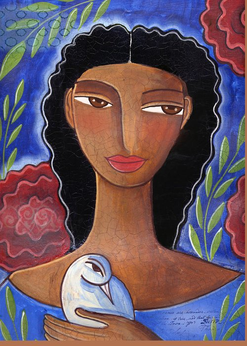 African American Greeting Card featuring the mixed media I Know I Can Love by Elaine Jackson