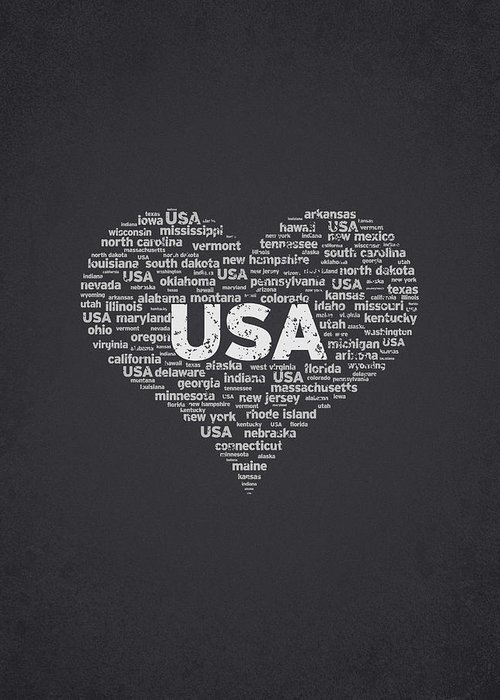 Usa Greeting Card featuring the digital art I Love Usa by Aged Pixel
