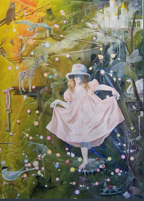 Girl Greeting Card featuring the painting I Met A Giraffe by Jackie Mueller-Jones