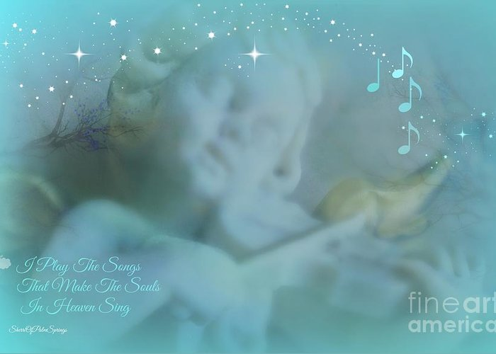 Angel Greeting Card featuring the photograph I Play The Songs by Sherri Of Palm Springs