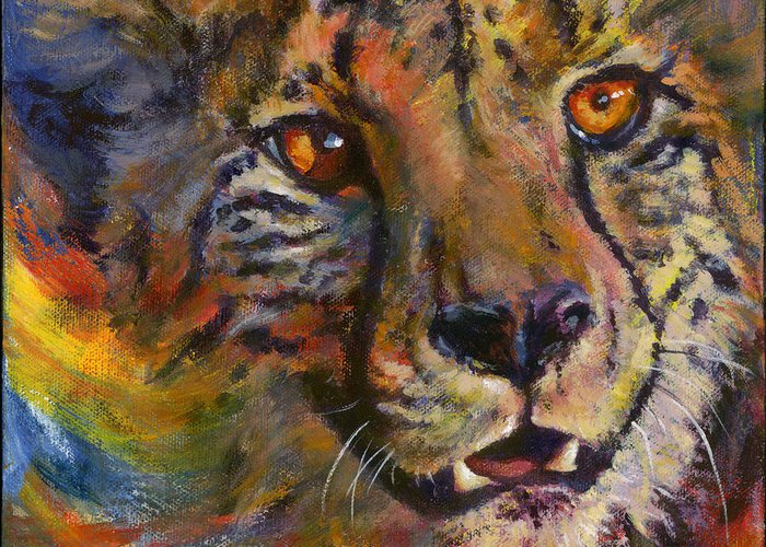 Cheetah Greeting Card featuring the painting I Spy by Don Michael Jr
