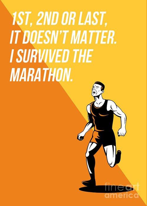 Poster Greeting Card featuring the digital art I Survived Marathon Runner Retro Poster by Aloysius Patrimonio
