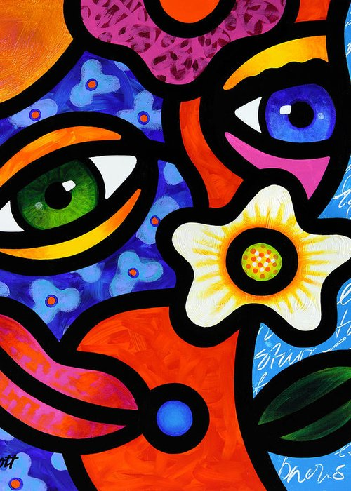Abstract Greeting Card featuring the painting I Think I Like You by Steven Scott