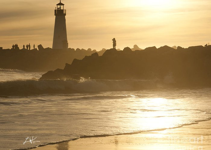 The Santa Cruz Harbor Lighthouse Greeting Card featuring the photograph I Will Wait For You Forever by Artist and Photographer Laura Wrede