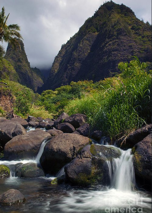 Iao Needle Greeting Card featuring the photograph Iao Storm by Mike Dawson