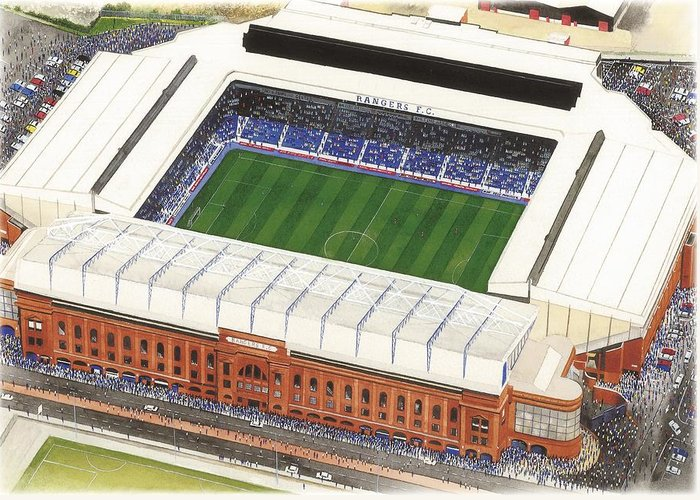 Glasgow Greeting Card featuring the painting Ibrox Stadium by Kevin Fletcher