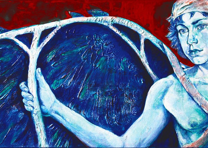 Greek Mythology Greeting Card featuring the painting Icarus by Derrick Higgins