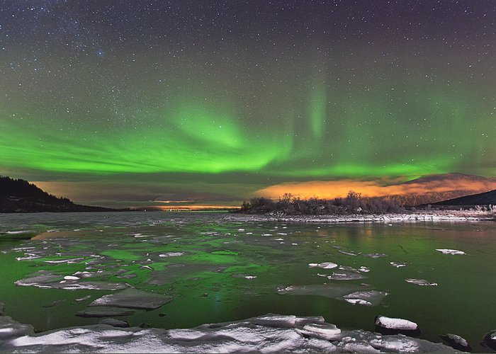 Canon Eos 5d Mark Iii Greeting Card featuring the photograph Ice And Auroras by Frank Olsen