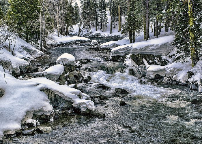 River Greeting Card featuring the photograph Ice Blue Yuba At Soda Springs by William Havle