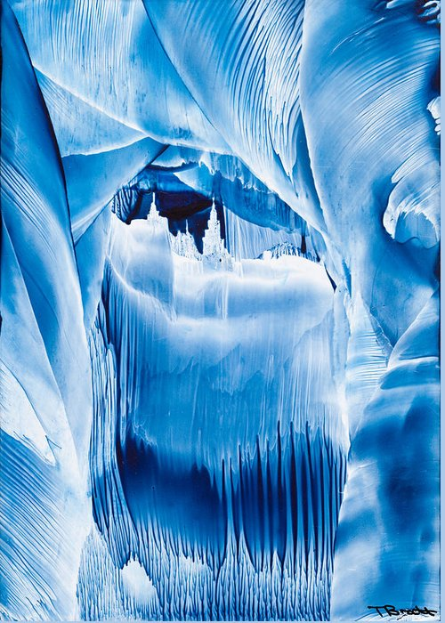 Ice Greeting Card featuring the painting Ice Castles Painting by Tisha Art