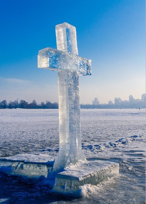 Dniepr Greeting Card featuring the photograph Ice Cross On The Frozen Dniepr by Alain De Maximy