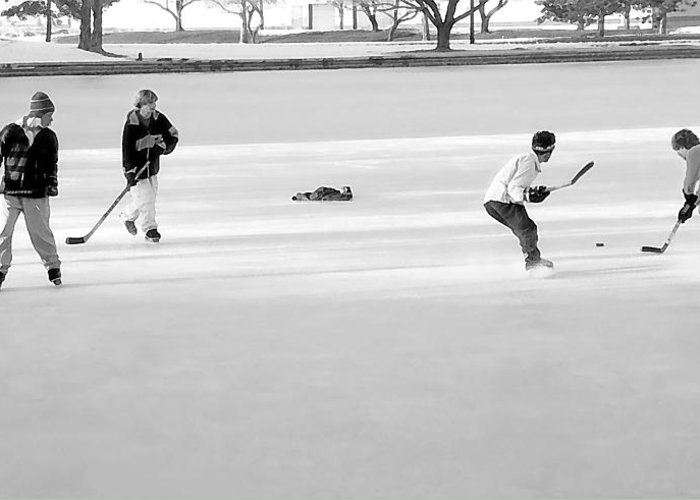 Ice Greeting Card featuring the photograph Ice Hockey - Black And White - Nostalgic by Steve Ohlsen