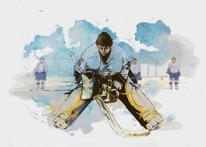 Sports Greeting Card featuring the painting Ice Hockey by Corporate Art Task Force