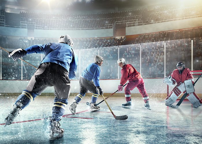 Sports Helmet Greeting Card featuring the photograph Ice Hockey Players In Action by Dmytro Aksonov