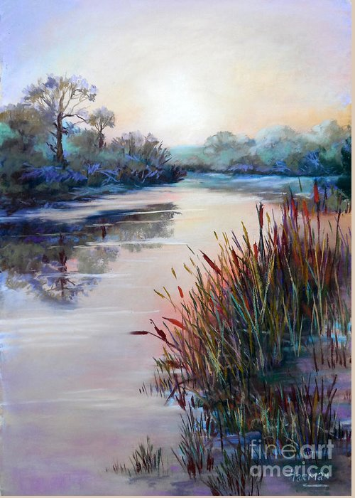 Landscape Greeting Card featuring the painting Ice On The Canal by Heather Harman