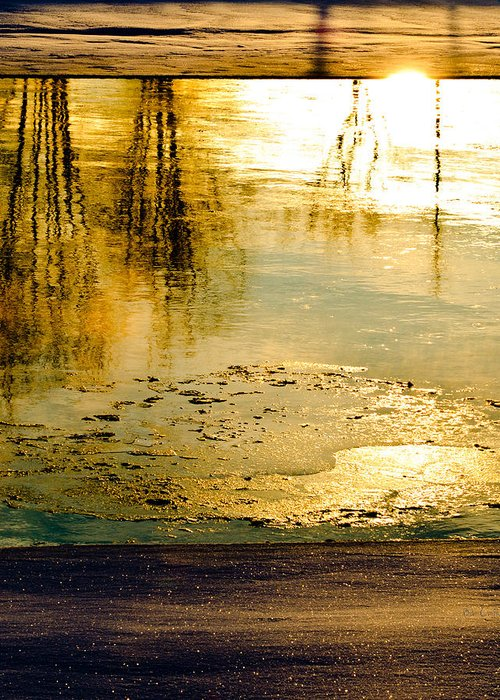 Abstract Greeting Card featuring the photograph Ice On The River by Bob Orsillo