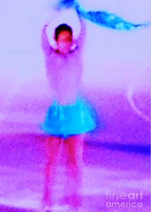 Ice Greeting Card featuring the photograph Ice Skater Abstract by Eric Schiabor