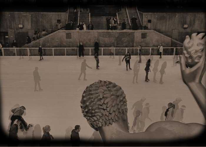 Ice Skating At Rockefeller Center In The Early Days Greeting Card featuring the photograph Ice Skating At Rockefeller Center In The Early Days by Dan Sproul
