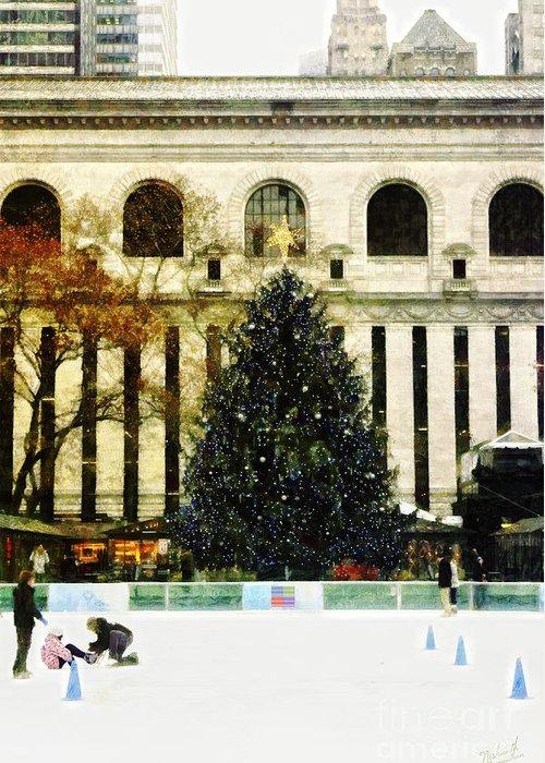 Xmas Tree Greeting Card featuring the digital art Ice Skating During The Holiday Season by Nishanth Gopinathan