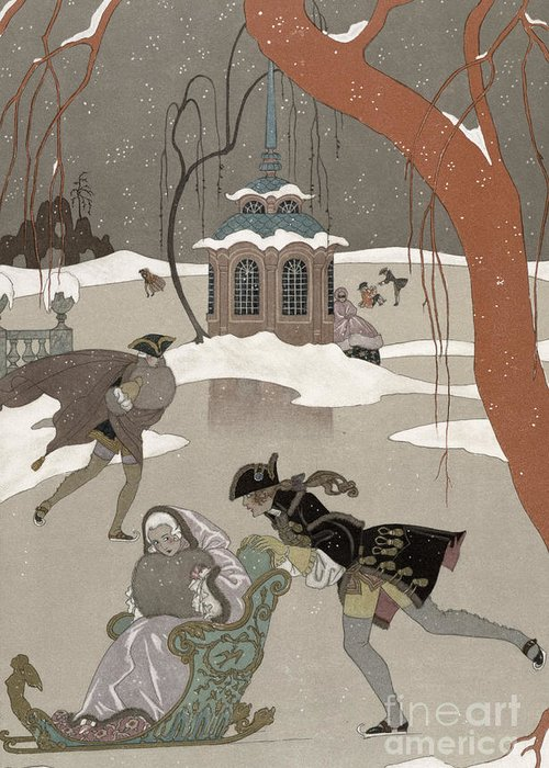 Pond Greeting Card featuring the painting Ice Skating On The Frozen Lake by Georges Barbier