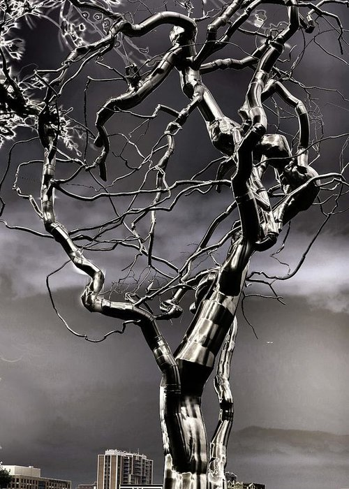 Fermet Greeting Card featuring the sculpture Ice Veins In The Sky by Joenne Hartley