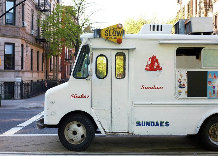 Retail Greeting Card featuring the photograph Icecream Truck On City Street by Jason Todd