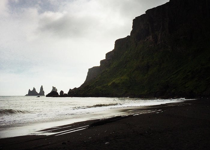 Vik Greeting Card featuring the photograph Iceland Vik Reynisdrangar cliffs and ocean by Matthias Hauser