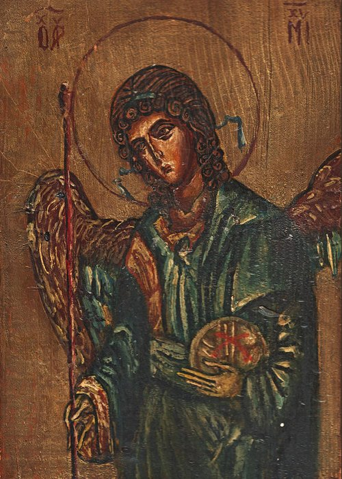 Michael Greeting Card featuring the painting Icon Of Archangel Michael - Painting On The Wood by Nenad Cerovic